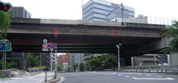 Image of the bridge girder, bridge railing, and piers of the Route 6 Mukojima Line before improvements