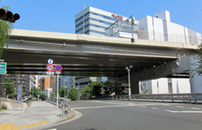 Image of the bridge girder, bridge railing, and piers of the Route 6 Mukojima Line after improvements