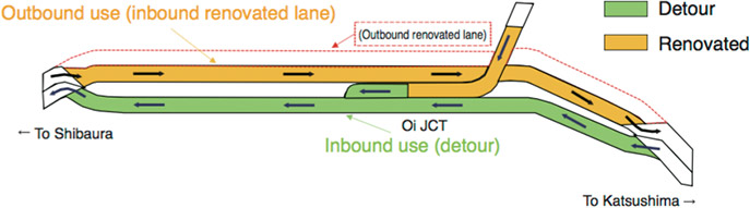 Image of detour planned for the Route 1 Haneda Line
