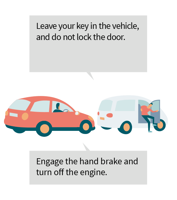 Leave you key in the vehicle, and do not lock the door. Engage the hand brake and turn off the engine.