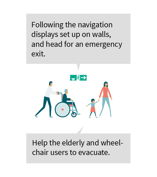 Following the navigation displays set up on walls, and head for an emergency exit. Help the elderly and wheelchair users to evacuate.