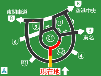 A simple diagram information board on traffic conditions is installed before a junction that splits into multiple routes.