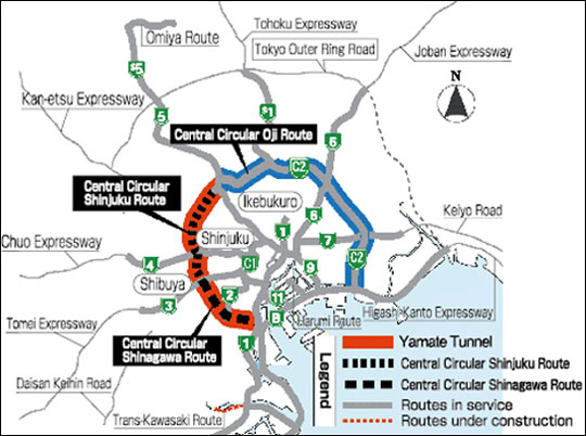 Map of Yamate Tunnel